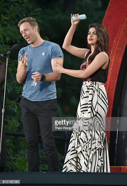 Musician Chris Martin and actress Priyanka Chopra perform at the 2016 Global Citizen Festival In Central Park To End Extreme Poverty By 2030 at...
