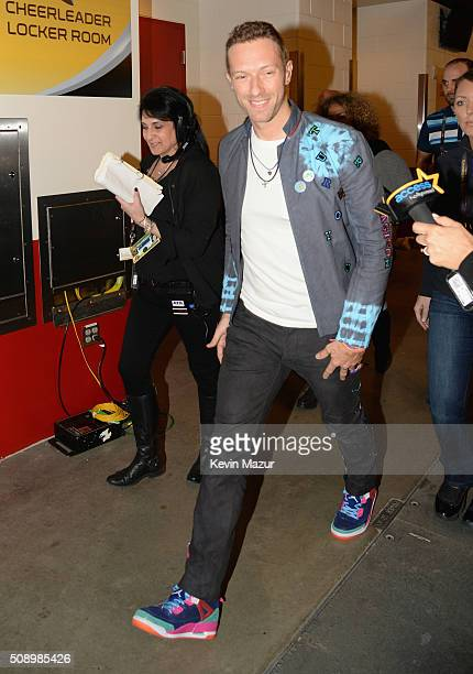 Musician Chris Martin of Coldplay attends Super Bowl 50 at Levi's Stadium on February 7 2016 in Santa Clara California