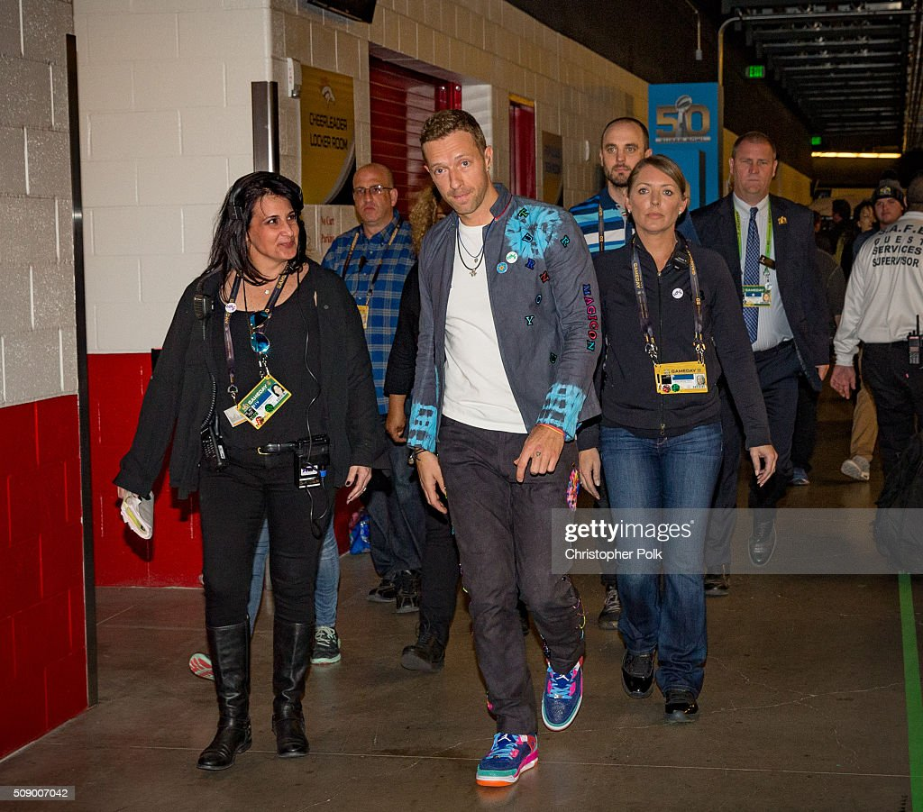 Musician Chris Martin of Coldplay attends Super Bowl 50 at Levi's Stadium on February 7, 2016 in Santa Clara, California.