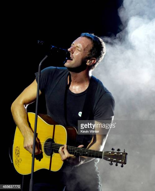 Musician Chris Martin of Coldplay performs an exclusive show presented by CBS Radio and Beats Music at Ace Hotel on September 17 2014 in Los Angeles...