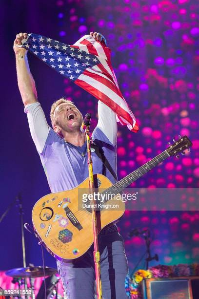 Musician Chris Martin of Coldplay performs on stage at SDCCU Stadium on October 8 2017 in San Diego California