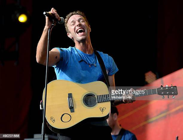 Musician Chris Martin of Coldplay performs onstage at the 2015 Global Citizen Festival to end extreme poverty by 2030 in Central Park on September 26...
