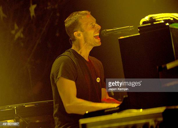 Musician Chris Martin of Coldplay performs onstage during their iHeartRadio Album Release Party at the iHeartRadio Theater Los Angeles on May 16 2014...
