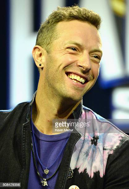Musician Chris Martin of Coldplay speaks onstage at the Pepsi Super Bowl Halftime Press Conference on February 4 2016 in San Francisco California