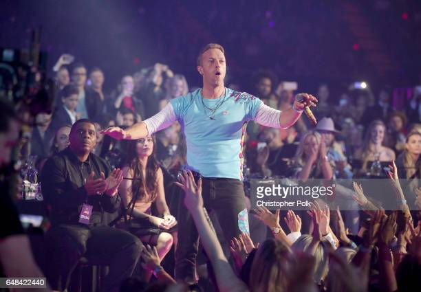 Musician Chris Martin performs at the 2017 iHeartRadio Music Awards which broadcast live on Turner's TBS TNT and truTV at The Forum on March 5 2017...