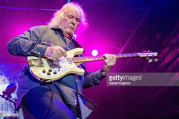 Musician Chris Squire performs on stage with Yes on August 18 2014 in San Diego California