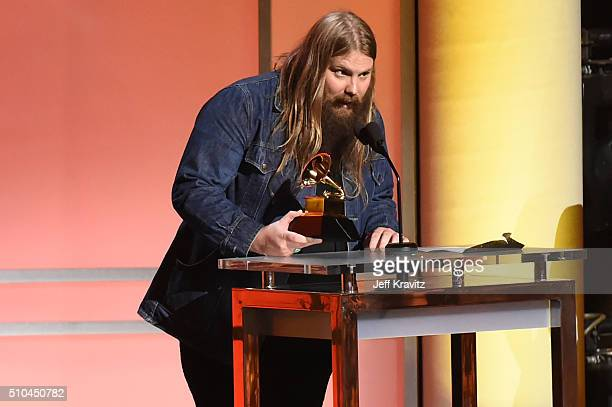 Musician Chris Stapleton accepts the award for Best Country Solo Performance for 'Traveller' onstage during The 58th GRAMMY Premiere Ceremony at Los...