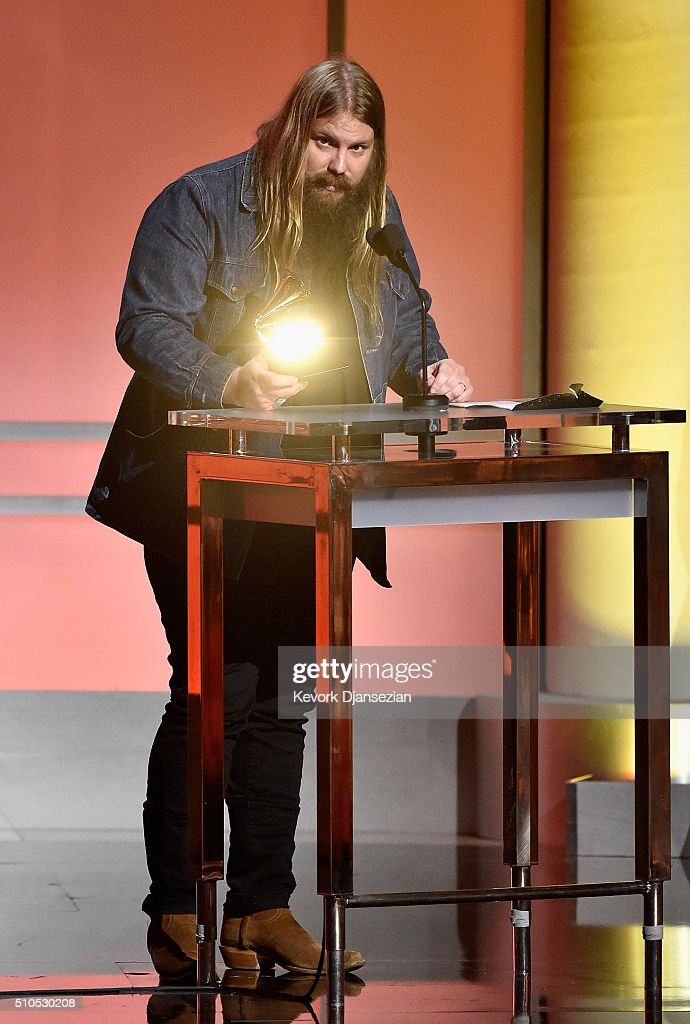 Musician Chris Stapleton accepts the 'Best Country Solo Performance' award for 'Traveller' onstage during the GRAMMY Pre-Telecast at The 58th GRAMMY Awards at Microsoft Theater on February 15, 2016 in Los Angeles, California.