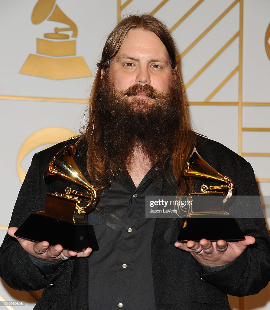 Musician Chris Stapleton poses in the press room at the The 58th GRAMMY Awards at Staples Center on February 15, 2016 in Los Angeles, California.