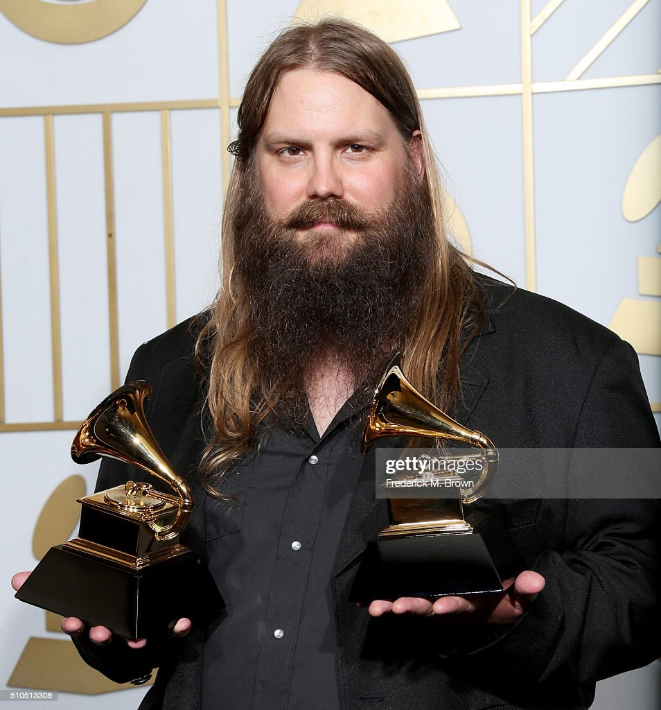 Musician Chris Stapleton, winner of Best Country Album and Best Country Solo Performance for 'Traveller,' poses in the press room during The 58th GRAMMY Awards at Staples Center on February 15, 2016 in Los Angeles, California.