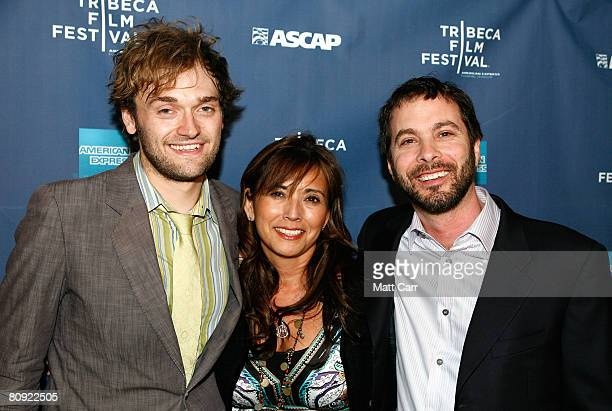 Musician Chris Thile Loretta Munoz of ASCAP and Tom Desavia of ASCAP pose during the Tribeca ASCAP Music Lounge at the 2008 Tribeca Film Festival on...