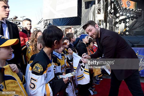 Musician Chris Young attends the 2016 NHL AllStar Red Carpet at Bridgestone Arena on January 30 2016 in Nashville Tennessee