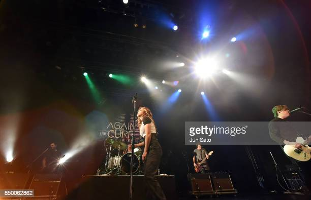 Musician Chrissy Costanza performs on stage during the Against The Current In Our Bones concert at Tsutaya OEast on September 20 2017 in Tokyo Japan