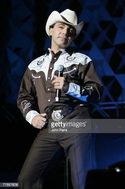 Musician Christian Castro performs on stage during the Amor A La Musica 2007 Concert at the American Airlines Arena on October 28, 2007 in...