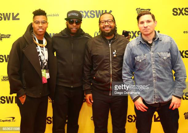 Musician Christian Scott aTunde Adjuah Talib Kweli of Javotti Media record producer Om'Mas Keith and Jarret Myer of UPROXX attend 'The Jazz of the...