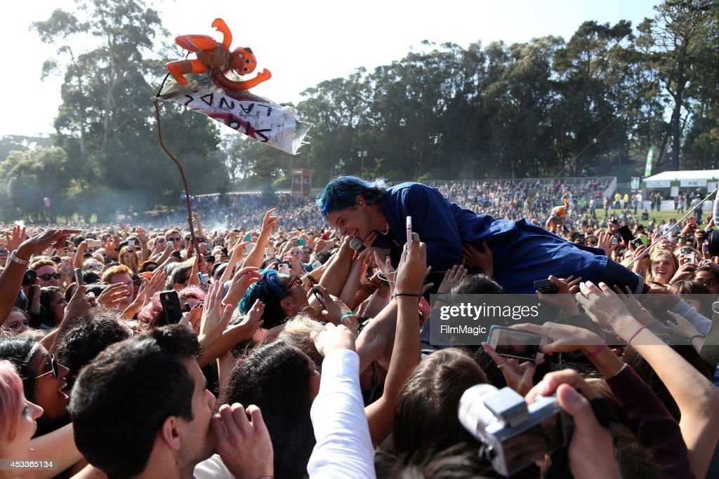 Musician Christian Zucconi of Grouplove performs at the Twin Peaks Stage during day 1 of the 2014 Outside Lands Music and Arts Festival at Golden Gate Park on August 8, 2014 in San Francisco, California.