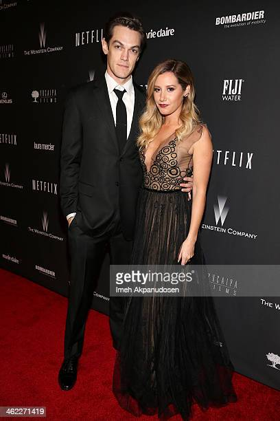 Musician Christopher French and actress Ashley Tisdale attend The Weinstein Company Netflix's 2014 Golden Globes After Party presented by Bombardier...