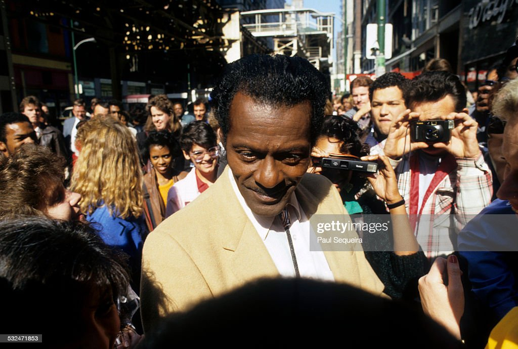 Musician Chuck Berry smiles and greets fans at an autograph session at Kroch's and Brentano's Books on Wabash Avenue, Chicago, Illinois, 1986.