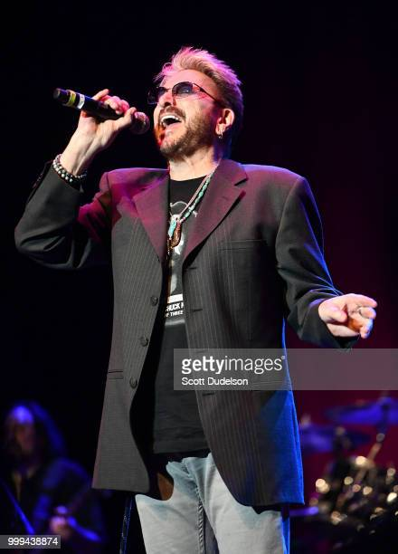 Musician Chuck Negron, former singer of the classic rock band Three Dog Night, performs onstage during the Happy Together tour at Saban Theatre on...