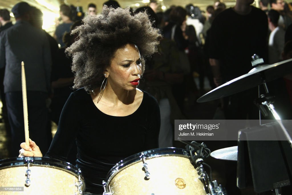 Musician Cindy Blackman performs prior the Dries Van Noten Menswear Spring/Summer 2014 show as part of the Paris Fashion Week on June 27, 2013 in Paris, France.