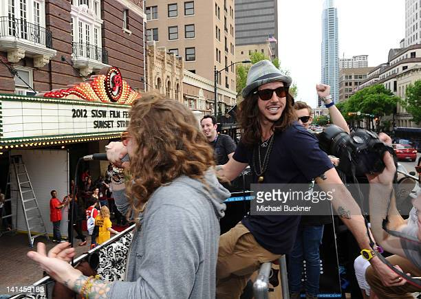 Musician Cisco Adler arrives to the world premiere of Sunset Strip on the Canwenetworkcom Bus during the 2012 SXSW Music FIlm Interactive Festival at...