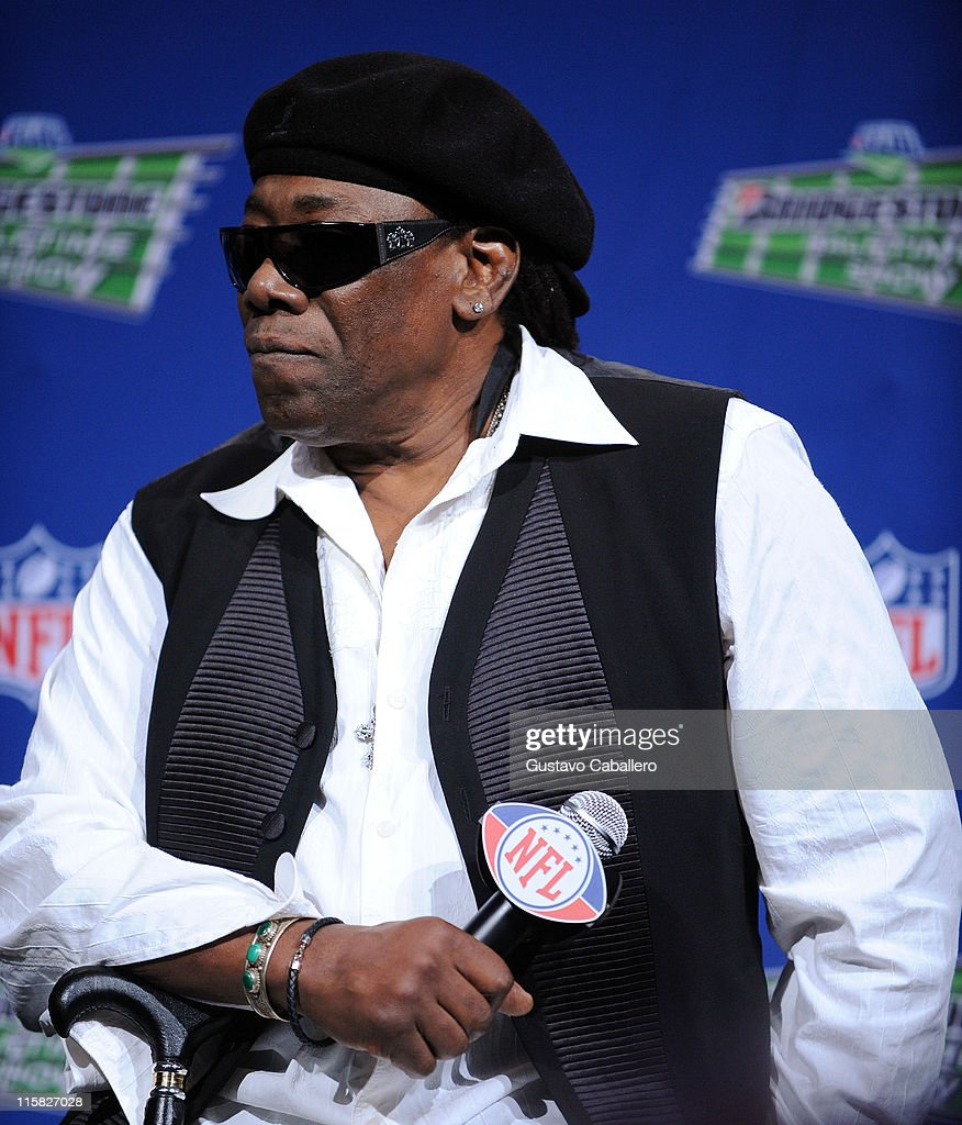 Musician Clarence Clemons of the E Street Band speaks at the Bridgestone Super Bowl XVLII Half Time Show Press Conference held at the Tampa Convention Center on January 29, 2009 in Tampa, Florida.