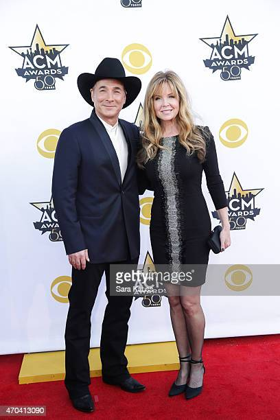 Musician Clint Black and Lisa Hartman Black attend the 50th Academy of Country Music Awards at ATT Stadium on April 19 2015 in Arlington Texas