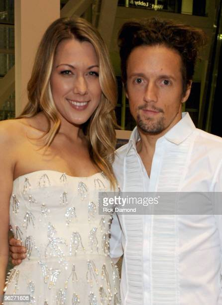 Musician Colbie Caillat and Musician Jason Mraz arrive at the 2010 MusiCares Person Of The Year Tribute To Neil Young at the Los Angeles Convention...