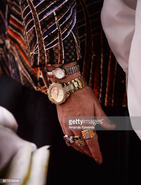 Musician Cole Whittle jewelry detail arrives at the grand opening of Westfield Century City at Westfield Century City on October 3 2017 in Century...
