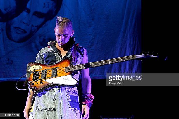 Musician Cole Whittle of Semi Precious Weapons performs in concert during Lady Gaga's Monster Ball tour at The Frank Erwin Center on April 6 2011 in...