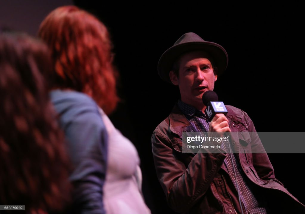 Musician Colin Gilmore (R) speaks onstage at the premiere of 'La Barracuda' during 2017 SXSW Conference and Festivals at Stateside Theater on March 11, 2017 in Austin, Texas.