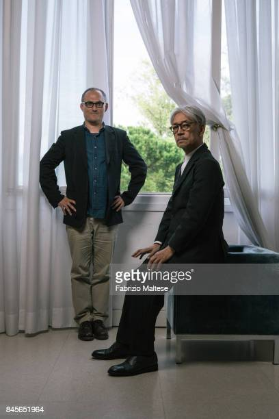 Musician composer record producer pianist activist writer actor and dancer Ryuichi Sakamoto is photographed with film director Stephen Nomura Schible...