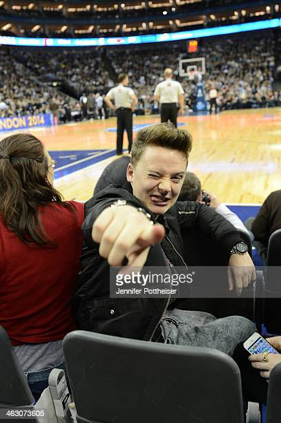 Musician Conor Maynard takes in the game of the Brooklyn Nets against the Atlanta Hawks as part of the 2014 Global Games on January 16, 2014 at The...