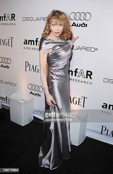 Musician Courtney Love arrives at the amfAR Inspiration Gala celebrating men's style with Piaget and DSquared 2 at Chateau Marmont on October 27 2010...