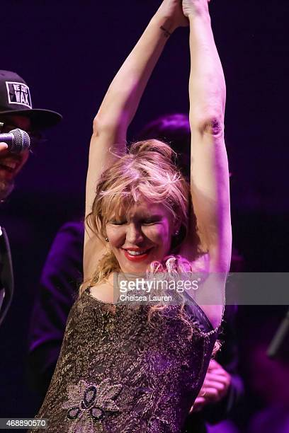 Musician Courtney Love performs at a celebration of the 60th anniversary of Allen Ginsberg's Howl with music words and funny people at The Ace Hotel...