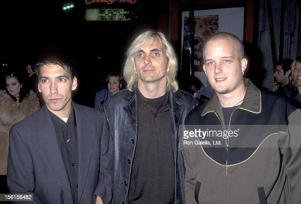 Musician Craig Montoya musician Art Alexakis and musician Greg Eklund of rock band Everclear attend the 'Romeo Juliet' Hollywood Premiere on October...