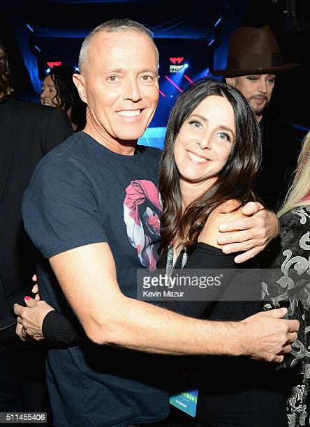 Musician Curt Smith of Tears for Fears and tv personality Martha Quinn pose backstage during the first ever iHeart80s Party at The Forum on February...