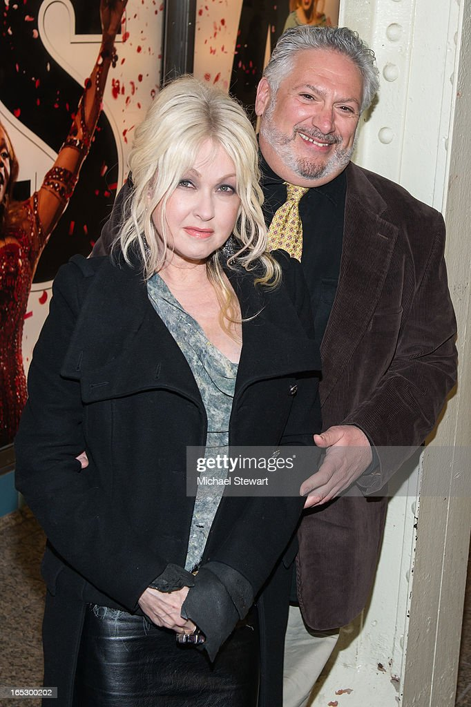 Musician Cyndi Lauper (L) and actor Harvey Fierstein attend Broadway's 'Kinky Boots' Everybody Say Yeah Ad Unveiling in Times Square on April 2, 2013 in New York City.