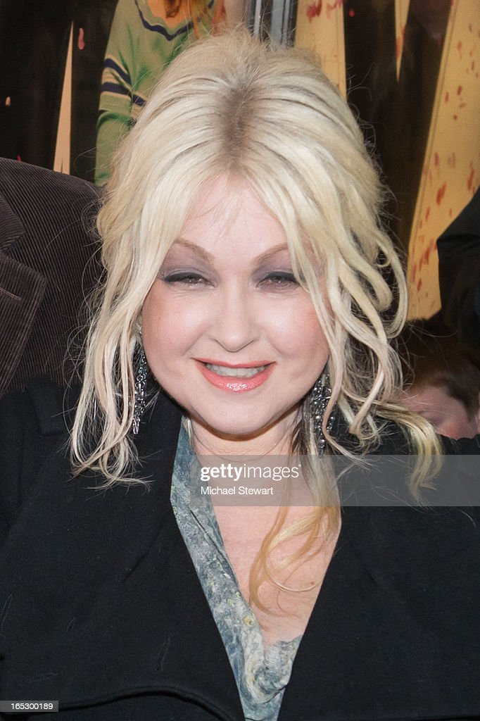 Musician Cyndi Lauper attends Broadway's 'Kinky Boots' Everybody Say Yeah Ad Unveiling in Times Square on April 2, 2013 in New York City.