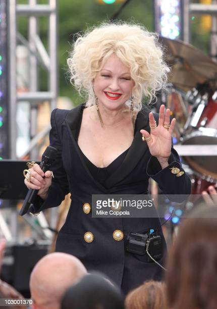 Musician Cyndi Lauper performs on CBS' 'The Early Show' at CBS Early Show Studio Plaza on July 20 2010 in New York City
