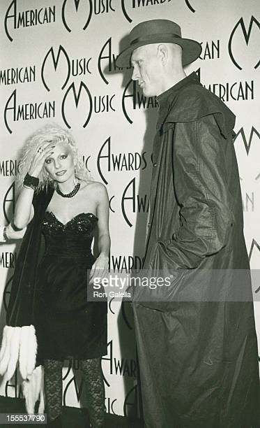 Musician Dale Bozzio of Missing Persons and guest attend 12th Annual American Music Awards on January 28 1985 at the Shrine Auditorium in Los Angeles...