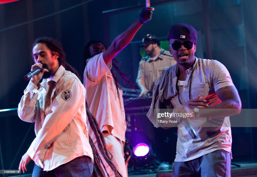 Musician Damian 'Jr. Gong' Marley (L) and recording artist Nas attend Fuel TV's 'The Daily Habit' on May 20, 2010 in Los Angeles, California.