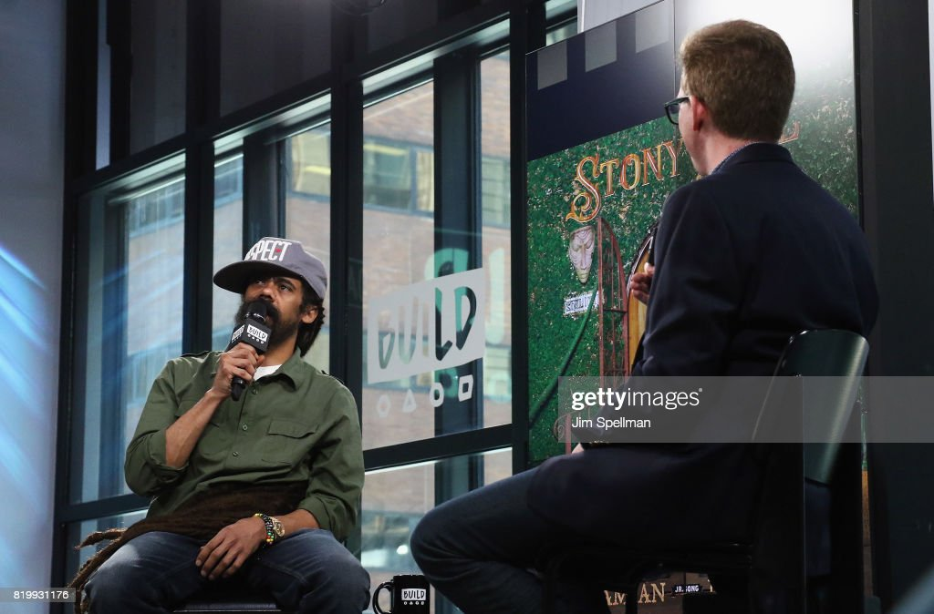 Musician Damian 'Jr. Gong' Marley (L) attends Build discuss his new album 'Stony Hill' at Build Studio on July 20, 2017 in New York City.