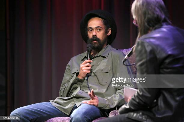 Musician Damian 'Jr Gong' Marley speaks with Executive Director of the GRAMMY Museum Scott Goldman at A Conversation With Damian 'Jr Gong' Marley at...