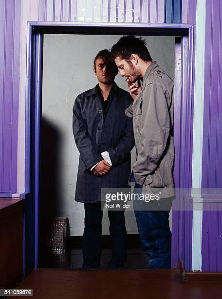 Musician Damon Albarn and cartoonist Jamie Hewlett of the virtual band Gorillaz