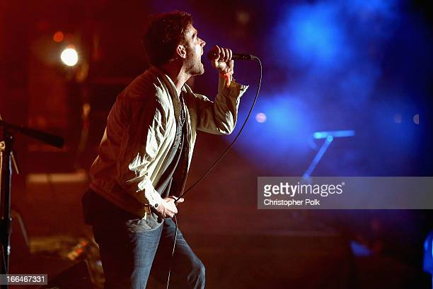 Musician Damon Albarn of Blur performs onstage during day 1 of the 2013 Coachella Valley Music Arts Festival at the Empire Polo Club on April 12 2013...