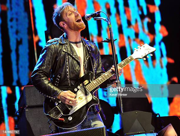 Musician Dan Auerbach of Black Keys performs onstage during day 1 of the 2012 Coachella Valley Music Arts Festival at the Empire Polo Field on April...