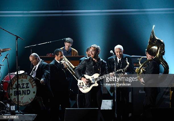 Musician Dan Auerbach of the Black Keys performs with the Preservation Hall Jazz Band onstage at the 55th Annual GRAMMY Awards at Staples Center on...
