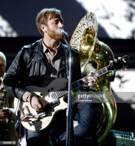 Musician Dan Auerbach rehearses onstage during the 55th Annual GRAMMY Awards at the STAPLES Center on February 8 2013 in Los Angeles California