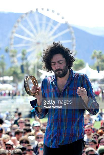 Musician Dan Bejar of the band Destroyer performs during Day 2 of the 2012 Coachella Valley Music & Arts Festival held at the Empire Polo Club on...